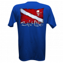 Salt Life Athletic Royal Dive Flag & Skull T-Shirt