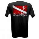 Salt Life Black Dive Flag & Skull T-Shirt