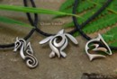 Big Blue Tribal Pewter Pendants