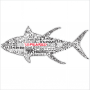Speared Tuna Words Decal/Sticker